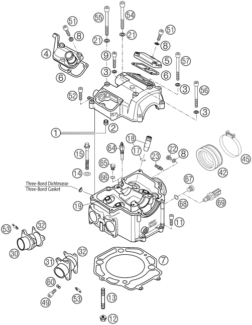 ktm newcastle 640 lc4 supermoto orange 2003 cylinder head. Black Bedroom Furniture Sets. Home Design Ideas